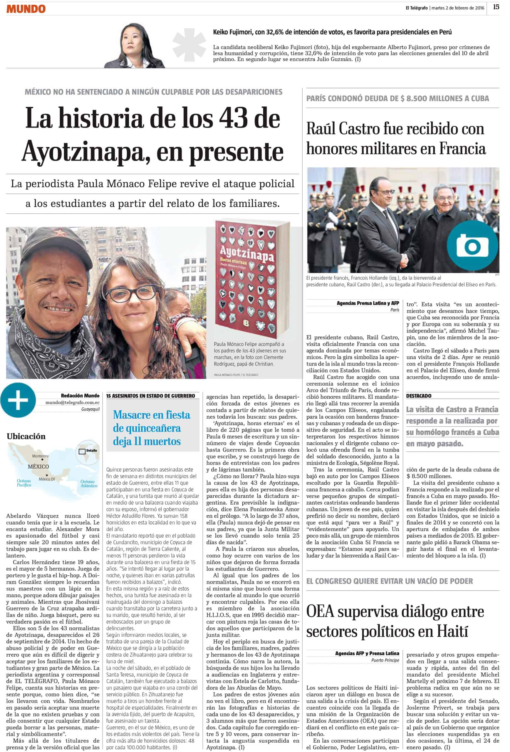 la historia de los 43 de Ayotzinapa en presente